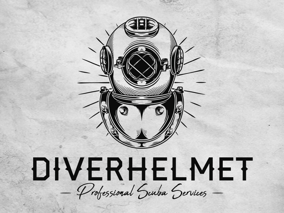 Diver Helmet Logo Template underwater aqua marine ocean water scuba gear scuba diver hand drawn diving helmet retro style vintage design diver helmet vector illustrative logotype logo design branding brand identity illustration creative design stock logo logo template