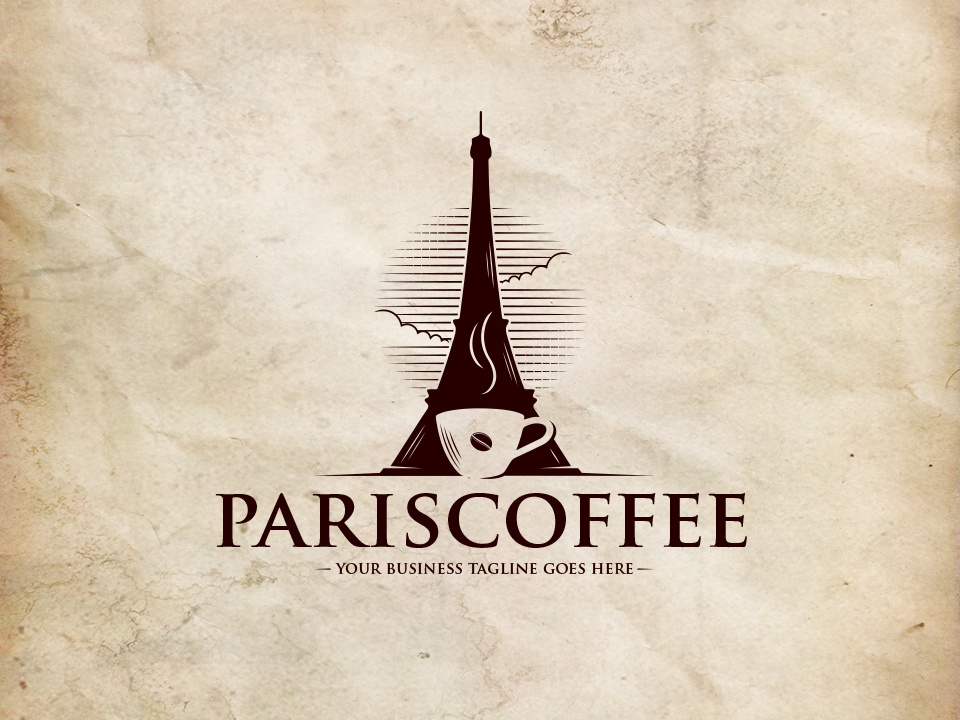 Paris Coffee Logo Template patisserie vintage logo clouds sky french pastry shop tea cup of coffee coffee coffee bean eiffel tower paris clean design branding vector illustrative logotype brand identity creative design stock logo logo template