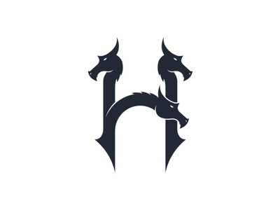 Hydra Letter H Logo fairy tale fabulous creature aquatic lizard freelance logo designer negative space hydra serpent dragon face head letter h clean design logo design vector logo mark branding brand identity creative design for sale logo stock logo