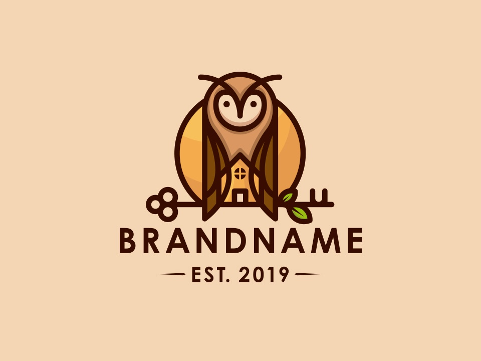 Owl Real Estate Logo cute animal freelance designer vector tree house for sale logo key clean design video games marketing agency real estate animal logo home house logoground logo design illustration illustrative logotype ready-made logo stock logo owl