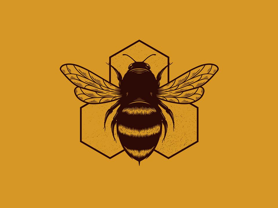 Bee Hive Creative Logo wings insect honey bee beehive vintage badge queen bee honeycomb honeybee monochrome logotype hand drawn vector freelance logo designer clean design branding logo design brand identity creative design stock logo logo template bee