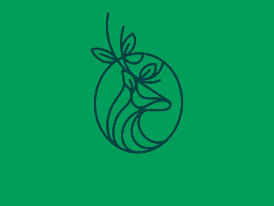Nature Deer Linear Logo (logo for sale) forest fashion doe logo design logoground geometric art geometry leaf head natural nature reindeer deer logo linear line art logo branding visual identity brand identity stock logo creative design