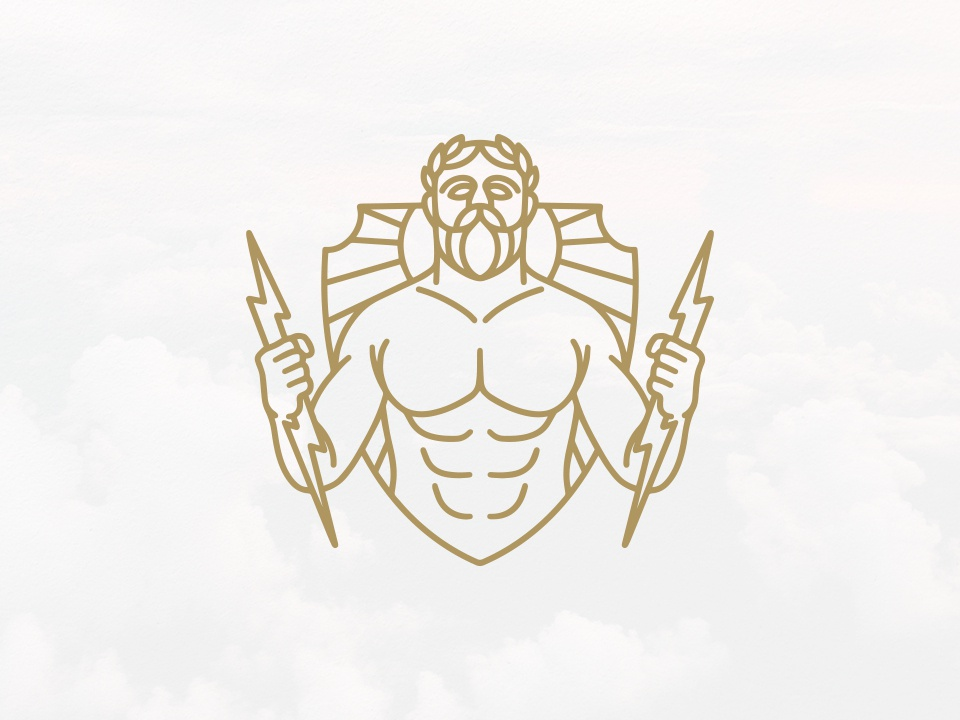 Zeus God Of Thunder Logo (logo for sale) ancient greece mythology shield crest logo thunder visual identity jupiter god zeus logoground for sale unused buy logo logo design vector clean design branding identity brand identity creative design stock logo