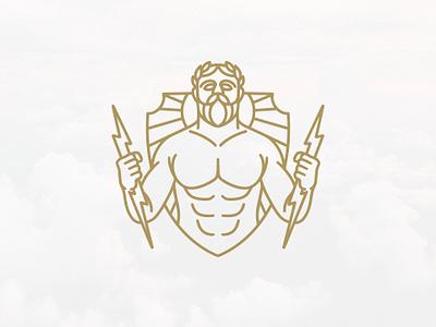 Zeus God Of Thunder Logo (logo for sale) ancient greece mythology shield crest logo thunder visual identity jupiter god zeus logoground for sale unused buy logo logo design vector clean design branding identity brand identity creative design stock logo