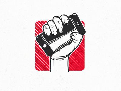 Technology Revolution Logo (logo for sale) ui design app development company innovation hand drawn logotype hand revolution tech iphone phone app start up logo technology logo design vector logo designer clean design illustration branding brand identity creative design stock logo