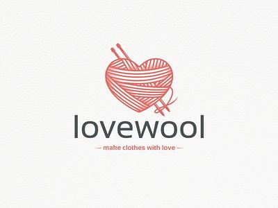 Wool Love Logo Template attelier yarn ball vintage logo homemade crochet hook tailoring handmade clothing label wool knitting heart love clean design vector branding brand identity logo design creative design logo template stock logo