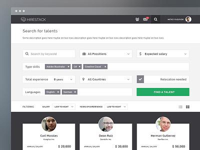Employer section | Hirestack search filter employer modern blur thin homescreen network app platform flat hirestack