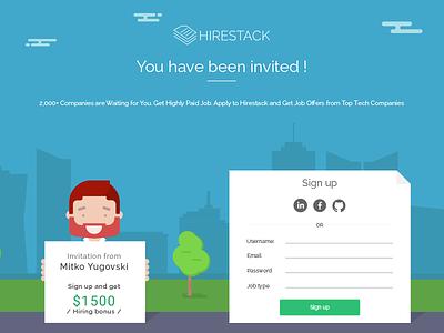 Hirestack Invite page modern register promotion illustration app flat hirestack