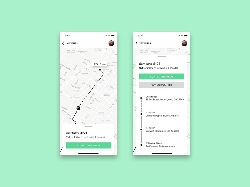 Day 20 - Location Tracker delivery status map app location tracker location app dailyui020 dailyui