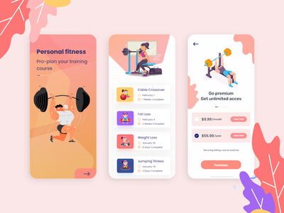 Personal Training App Concept coach exercise onboarding modern dailyui figma dribbble concept trainerapp trainer fitness app fitness uiux ui design ios design