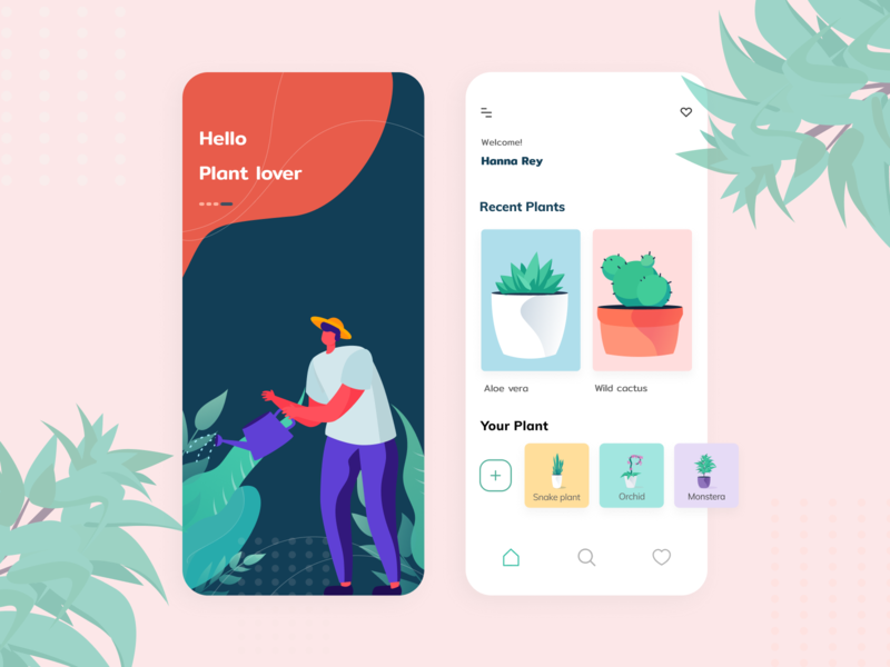 Plant Care Mobile App education swipe green plant home sketch handbook gardener garden lovers plants figma uidesign ui ios design ui  ux design ios mobile app concept app