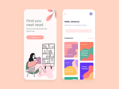 e-Library design - Book store app illustration dribbble app uidesign design ui  ux design ios mobile app concept app figma bookshop reading app read collection bookstore book