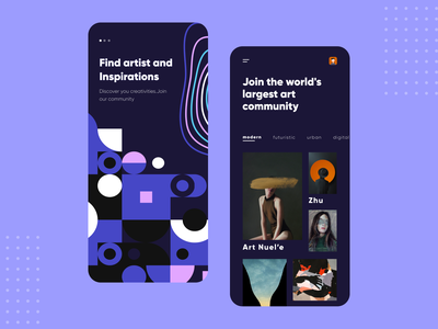 Arty Concept Mobile App graphics graphicdesign inspirations inspiration artwork artist app illustration concept art ui  ux figma dribbble app design ui  ux design ios mobile app concept app