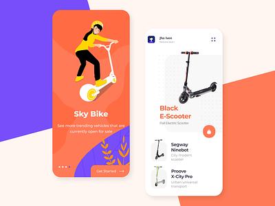 Sky Bike Concept Mobile App concept art figmadesign figma rent app ecommerce bike dribbble app uidesign design ui  ux design ios mobile app concept app