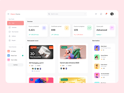 Stigma Course - Dashboard interface illustration talent courses course app dashboard design dashboard app dashboard dribbble app figma uidesign design ui  ux design concept app