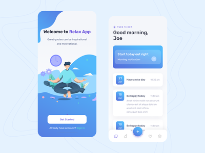 Poyce | Relax App morning people color ios design ui ux app lifestyle stress relaxation relaxing quotes relax meditate calm