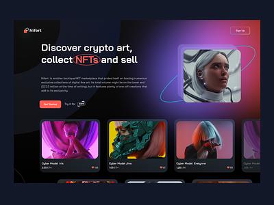 Nifert - Nft art platform concept webdesign ui website nfts art token dark marketplace bitcoin concept app webapp web cryptoart nftart nft