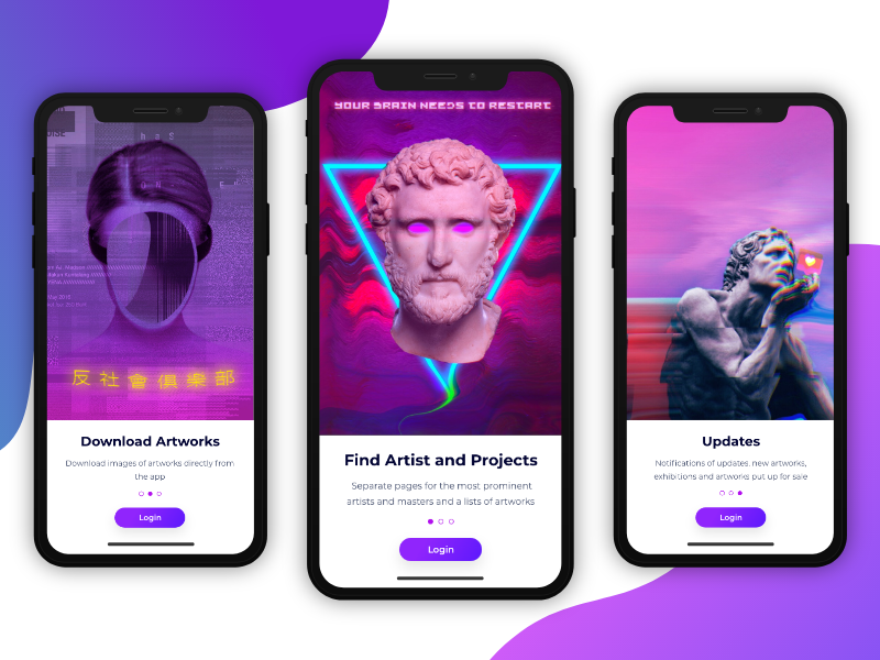 Hello Future surreal art concept app concept art ios mobile app ui  ux design art glitch uidesign