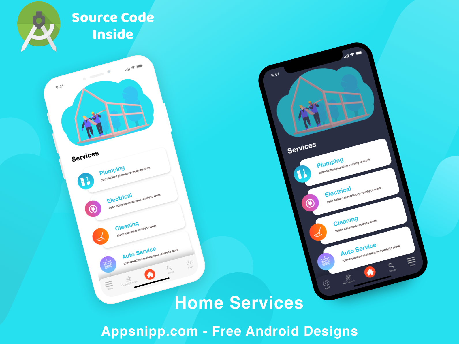Home Services App with Free Source Code appsnipp android source code dark mode ios minimal ux ui design app modern android app