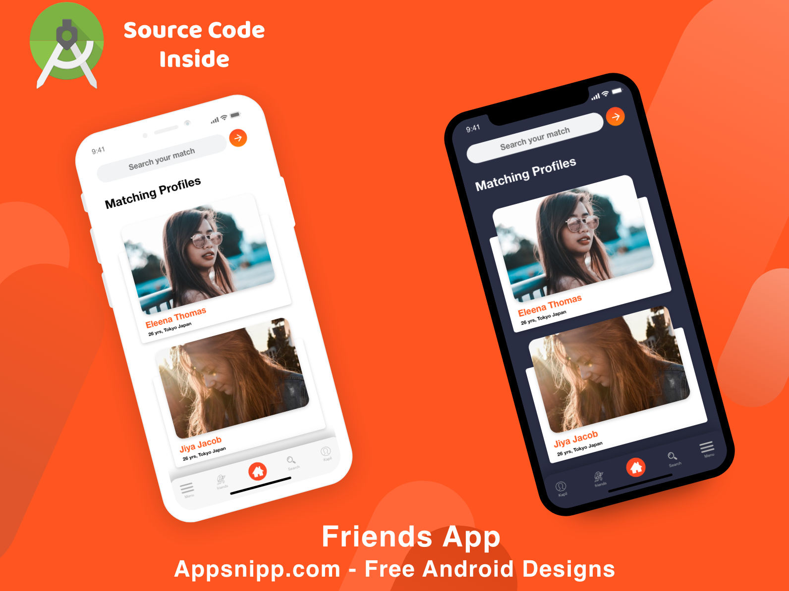 Free dating app with android source code - appsnipp dark mode minimal ios ux ui design app modern android app apps design appsnipp
