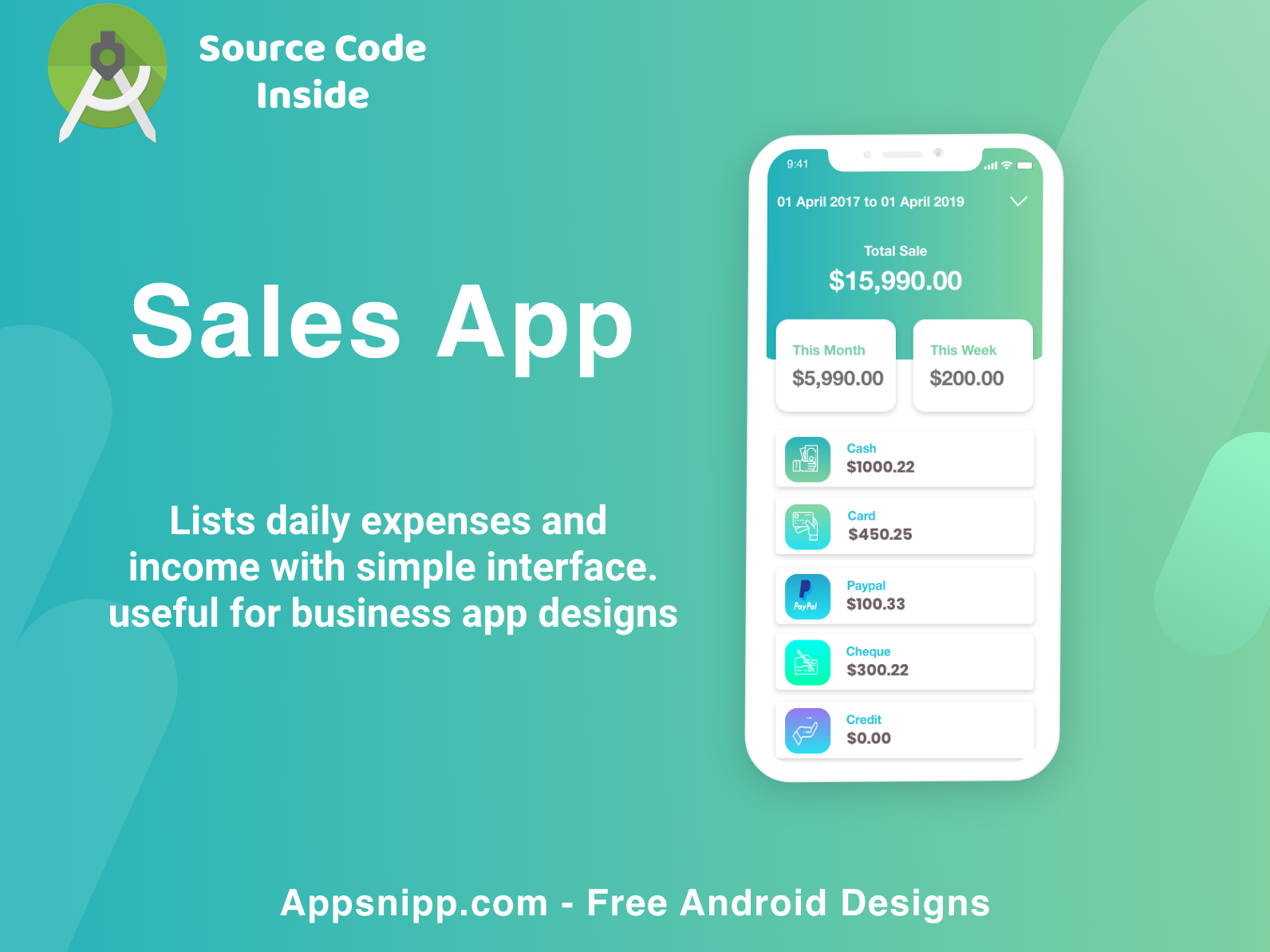 Realtime sales app ui design with source code for android free code free app appsnipp illustration minimal ios ux ui design app modern android app