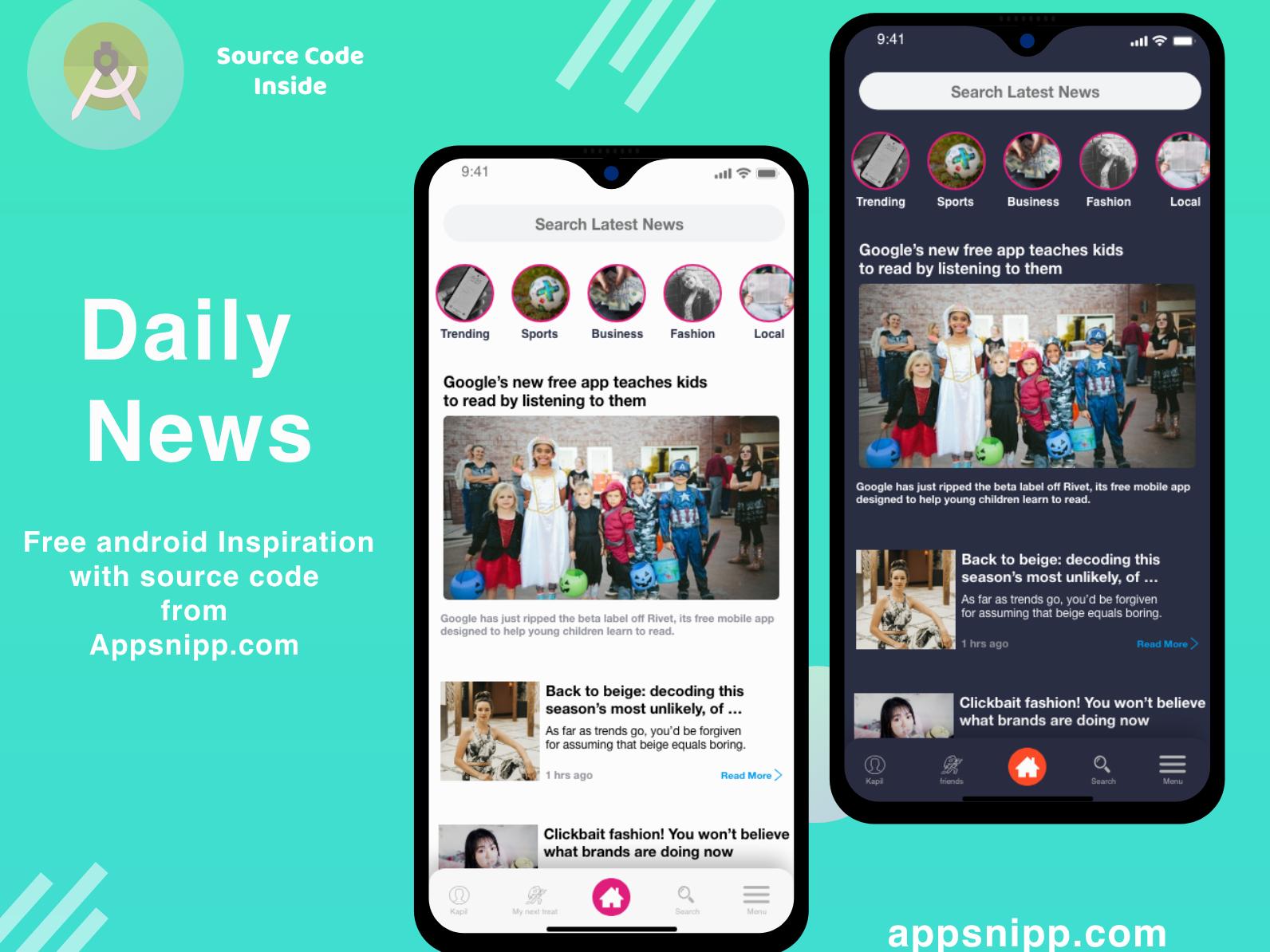 News 2 news app free code free app dark mode appsnipp minimal ios ux ui design app modern android app