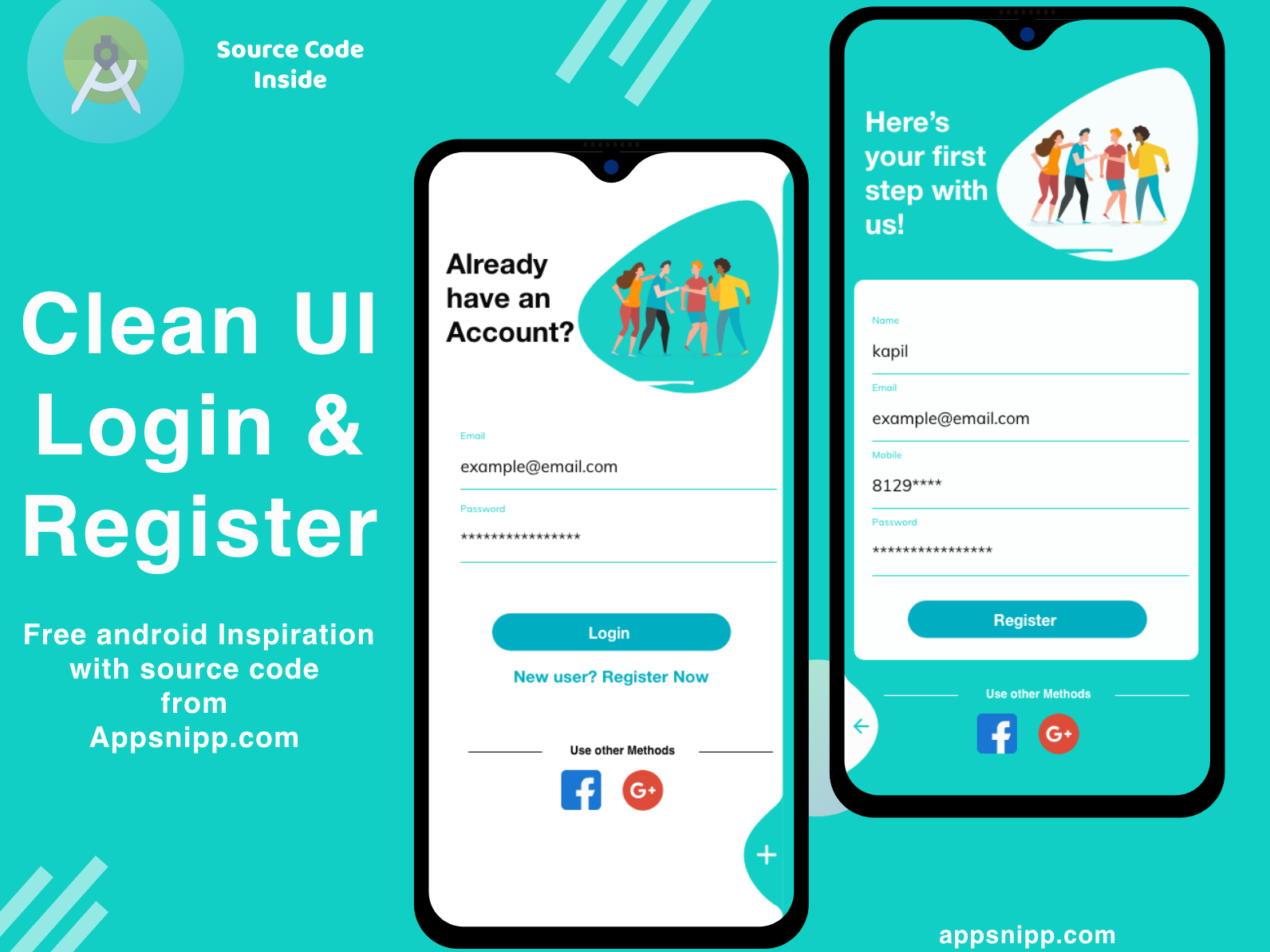 Clean ui login design for android with source code free android login register login free code free app appsnipp minimal ios ux ui design app modern android app