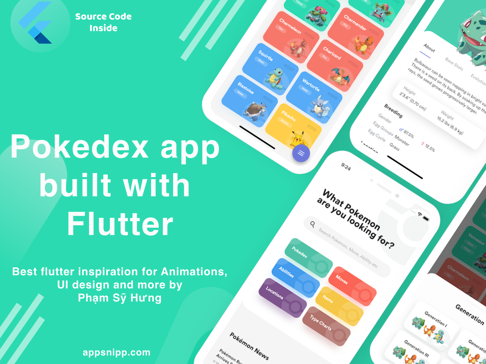 Flutter Inspiration for animations, ui designs by Phạm Sỹ