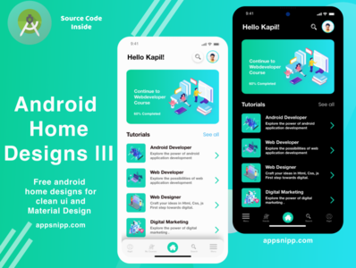 android education app home designs with dark mode