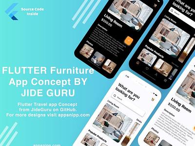 eCommerce / furniture app ui kit in flutter by jide guru appsnipp freebie free code flutter designs modern ux ui design app