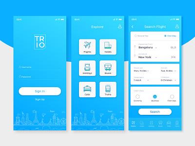 Mobile App - Travel Booking travel trains cabs buses holidays booking app hotel app flight app icon mobile ui mobile app illustration vector adobe xd ui dribbble design