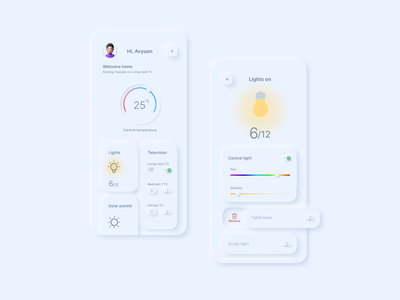 Smart home 2021 trend ux neomorphism mobile interface app ui experience design