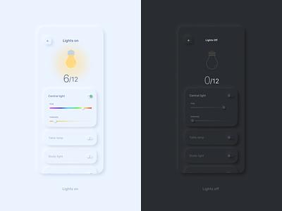 Lights on/off neomorphism soft ui dark ui 2021 smart home mobile interaction interface app ui ux experience design