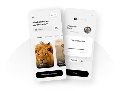 The Zookeeper colourless inspection zoo animal ui interaction interface app ux experience design