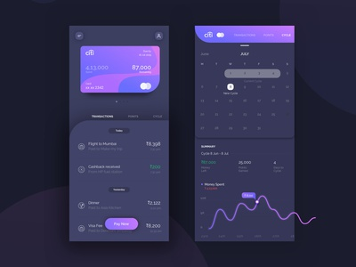Cards management Dark theme dark night tracker expense credit card interface ui ux mobile interaction experience app design