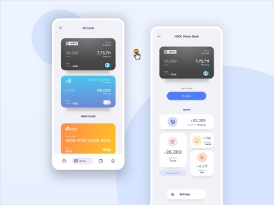 All Cards credit card workflow mobile interface ui interaction app ux experience design