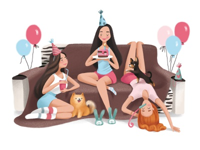 happy Birthday pajamas party charachter design characterdesign illustration