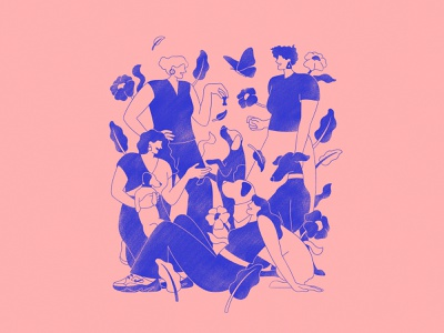 Gal pals and their furry friends procreate colourinspo screenprint travel nature flowers nike fashion characterdesign dogs london park plants graphicdesign designer art design illustrator graphic design illustration