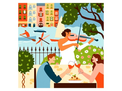 La Dolce Vita for Mind, Body & Soil nature music holiday summer wine pasta food italy digitalillustration digitalart vectorillustration vectorart travel graphicdesign designer design art illustrator graphic design illustration