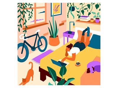 Rest & Recovery for Mind, Body & Soil roadbike cycling artwork coffee colourinspo interiordesign bedroomdecor cat dog netflix selfcare plants graphicdesign designer design art illustrator graphic design illustration
