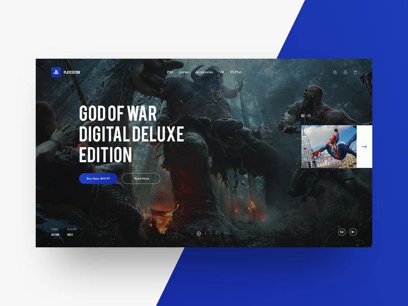 Playstation Website Concept branding grid god of war hero ui pack playstore playstation game web design