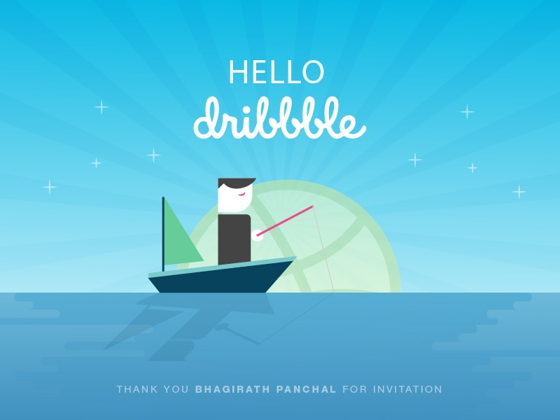 First Shot vector character fishing boat sea ocean illustration hello debut dribbble shot first