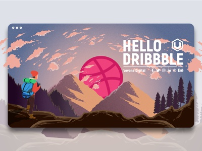 Hello Dribbble! work web vector theme sky player nature mountain invite landscape landing page game character business application artwork agency digital