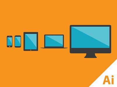 Flat Devices - Freebie - vector illustrator freebie ai vector devices iphone nexus ipad imac macbook