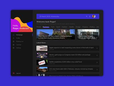 News App Design dark mode desktop app desktop latest news newsfeed news uxdesign ux uidesign ui design app