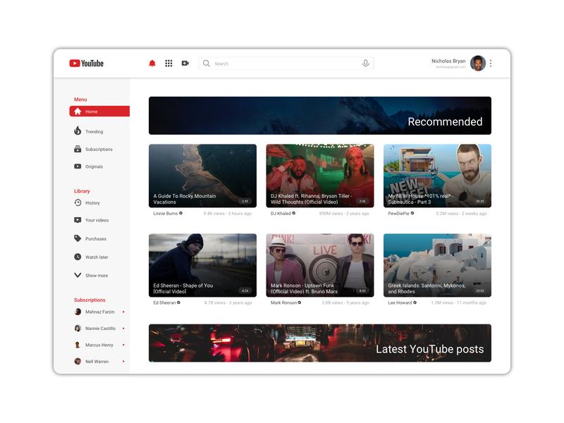 Youtube Redesign concept app desktop uxdesign uidesign webdesign ux ui redesign youtube