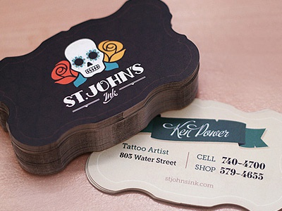 St. John's Ink Business Cards tattoo business cards sugar skull skull hardcore artist flowers day of the dead