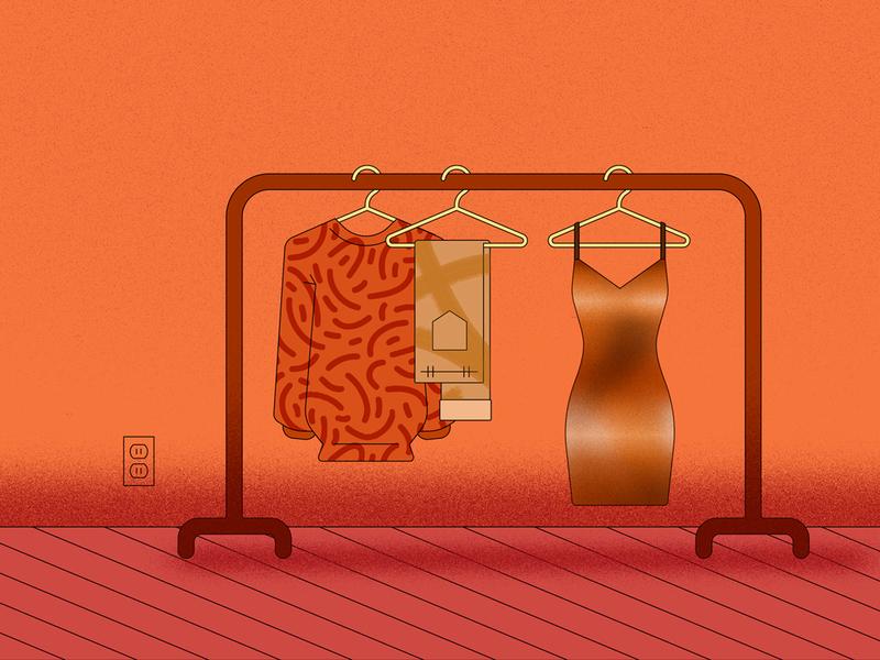 Closet pants sweater dress illustration rack clothes