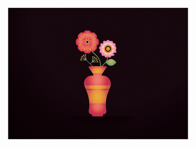 Flower illustration vase