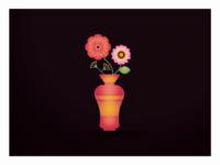 Flower illustration vase